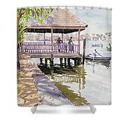 The Jetty Cochin Shower Curtain by Lucy Willis