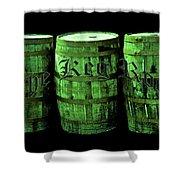 The Keg Room 3 Green Barrels Old English Hunter Green Shower Curtain