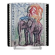 The King's Elephant Vintage Postage Stamp Print Shower Curtain