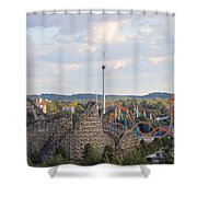 The Kiss And The Coasters Shower Curtain