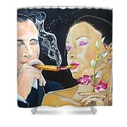 The Kiss Edge Listen With Music Of The Description Box Shower Curtain by Lazaro Hurtado