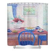 The Kitchen Table Laid For Lunch Shower Curtain