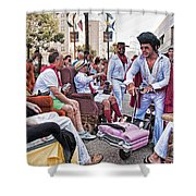 The Laissez Boys At Running Of The Bulls In New Orleans Shower Curtain