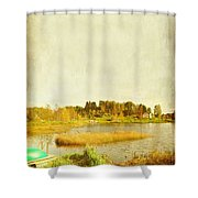 The Lake In Autumn Shower Curtain