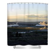 The Land Of Geysers. Yellowstone Shower Curtain