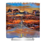 The Land Of Rock Towers Shower Curtain by Elise Palmigiani