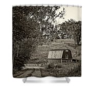 The Lane Sepia Shower Curtain