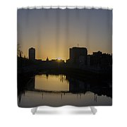 The Liffey River In Morning - Dublin Ireland Shower Curtain
