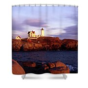 The Light On The Nubble Shower Curtain by Skip Willits