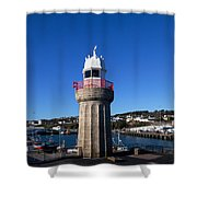 The Lighthouse And Fishing Harbour Shower Curtain