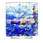 The Lighthouse Through Turbulent Waters Shower Curtain
