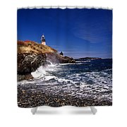 The Ligthouse At West Quoddy Shower Curtain