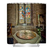 The Limestone Font  Shower Curtain