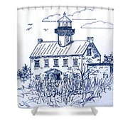 The Lines Of East Point Light In Blue Shower Curtain