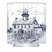 The Lines Of East Point Lighthouse In Blue 2 Shower Curtain
