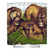 The Lion Family Shower Curtain