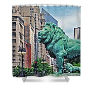 The Lions Of Chicago Shower Curtain