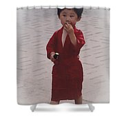 The Little Boy In The Red Silk Dress Shower Curtain