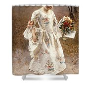 The Little Flower Girl  Shower Curtain by Albert Raudnitz