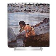 Little Girl And Ganga River Shower Curtain