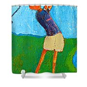The Little Golfer Shower Curtain