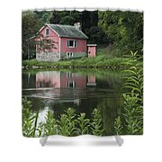 The Little Pink Cabin With Ripples Shower Curtain