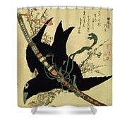 The Little Raven With The Minamoto Clan Sword Shower Curtain