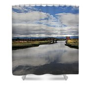 The Little Red Love Shack Shower Curtain by Laurie Search
