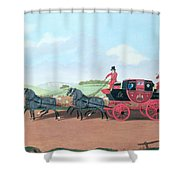 The Liverpool And London Royal Mail Coach, 1812 Oil On Canvas Shower Curtain