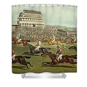 The Liverpool Grand National Steeplechase Coming In Shower Curtain by Charles Hunt and Son