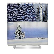 The Lone Christmas Tree Shower Curtain