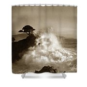 The Lone Cypress Midway Point Pebble Beach  Lewis Josselyn  Circa 1916  Shower Curtain