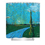 The Long Blue Road Shower Curtain