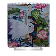 The Lotus Pond Hand Embroidery Shower Curtain