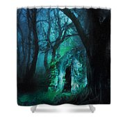 The Lovers Cottage By Night Shower Curtain