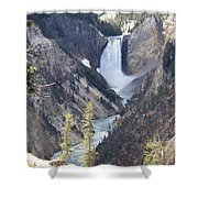 The Lower Falls Of Yellowstone River Shower Curtain