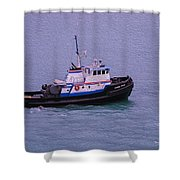 The Lunch Bucket Boat Shower Curtain