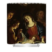 The Madonna Adoring The Infant Christ Shower Curtain