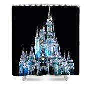 The Magic Kingdom Castle In Frosty Light Blue Walt Disney World Shower Curtain