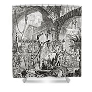 The Man On The Rack Plate II From Carceri D'invenzione Shower Curtain