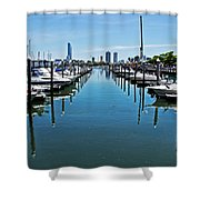 The Marina At The Golden Nugget Shower Curtain by Tom Gari Gallery-Three-Photography