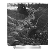 The Mariner As His Ship Is Sinking Sees The Boat With The Hermit And Pilot Shower Curtain by Gustave Dore