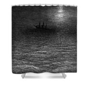 The Marooned Ship In A Moonlit Sea Shower Curtain