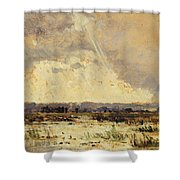 The Marsh In The Souterraine, 1842 Shower Curtain by Theodore Rousseau