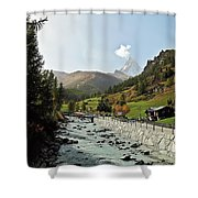 The Matter Vispa And The Matterhorn Shower Curtain