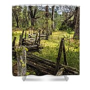The Meadow Fence Shower Curtain