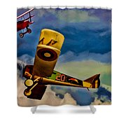 The Mean French Skies Shower Curtain