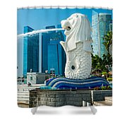 The Merlion  Fountain - Singapore. Shower Curtain