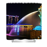 The Merlion Fountain And Marina Bay Sands - Singapore Shower Curtain