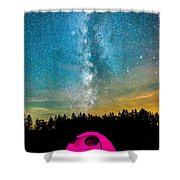 The Midnight Camper Pink Tent Shower Curtain